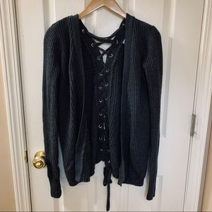 Thick Gray Lace Up Back Cardigan